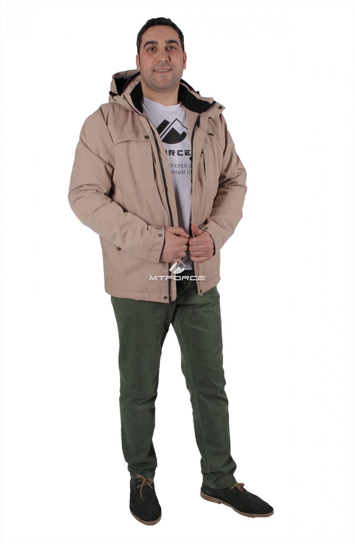 Купить оптом Куртка мужская осень весна бежевого цвета 1718-1B в Новосибирске