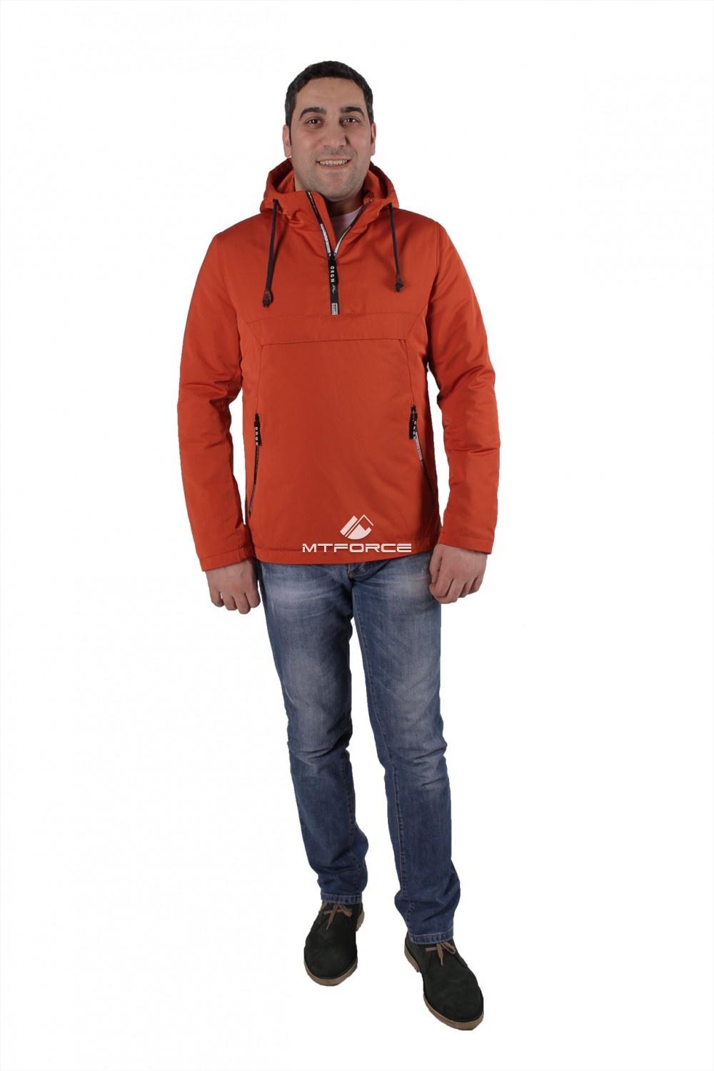 Купить оптом Куртка анорак мужская оранжевого цвета 737O в Новосибирске