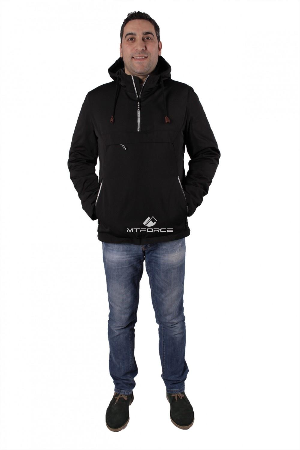 Купить оптом Куртка анорак мужская черного цвета 737Ch в Новосибирске