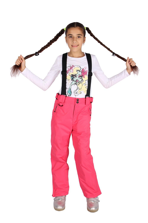 Купить оптом Брюки горнолыжные подростковые для девочки розового цвета 816R в Санкт-Петербурге