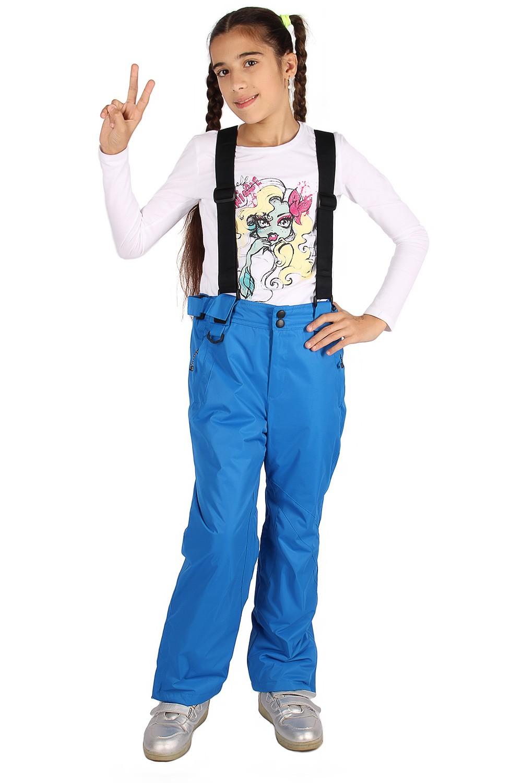 Купить оптом Брюки горнолыжные подростковые для девочки синего цвета 816S в Перми