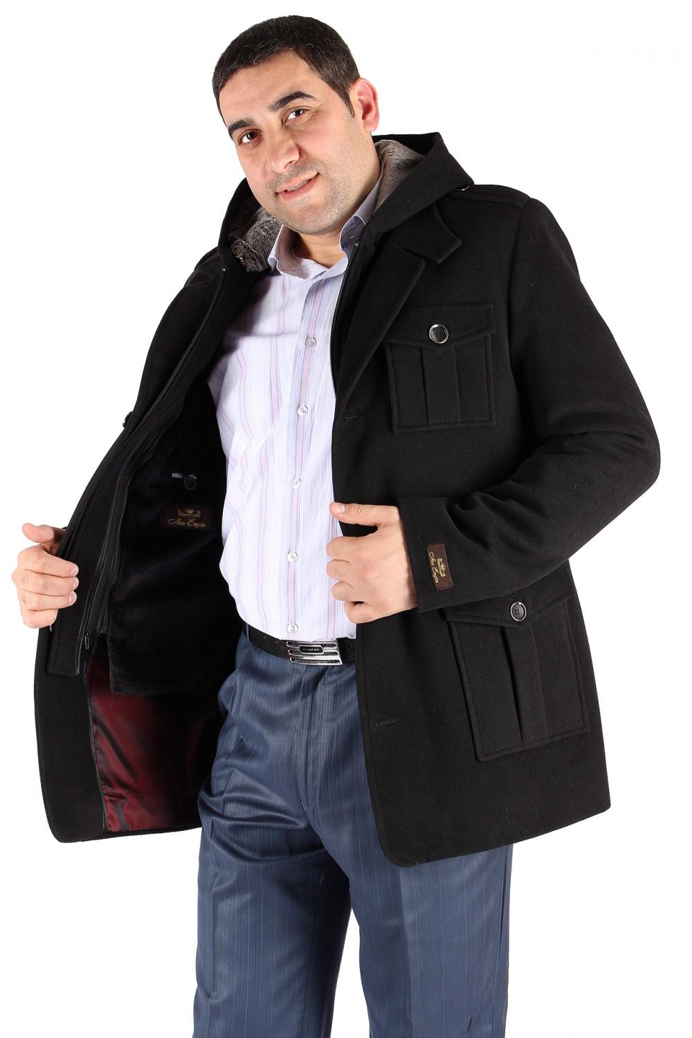 Купить оптом Полупальто мужское черного цвета Кс-03Ch в Ростове-на-Дону