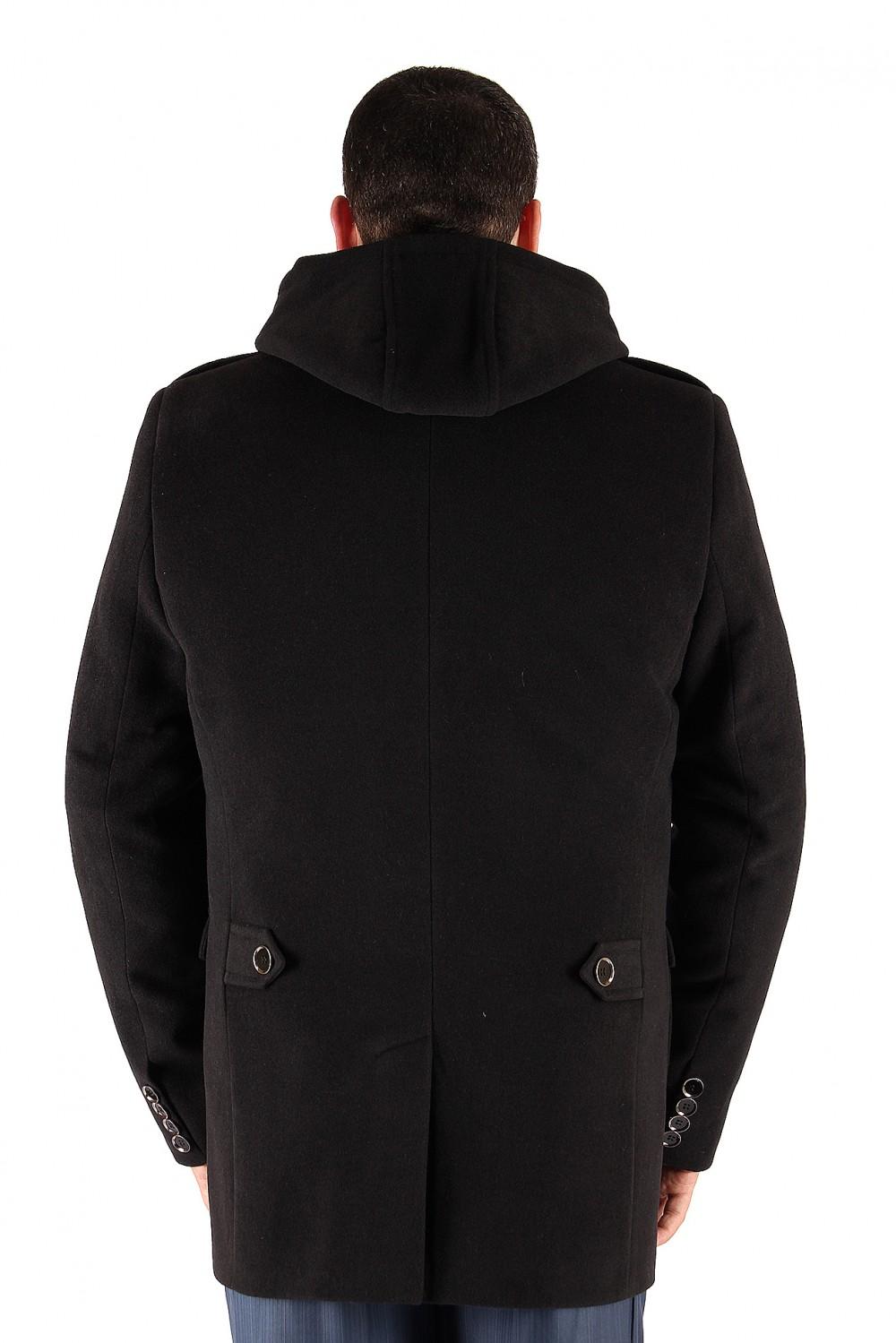 Купить оптом Полупальто мужское черного цвета Кс-03Ch в Казани