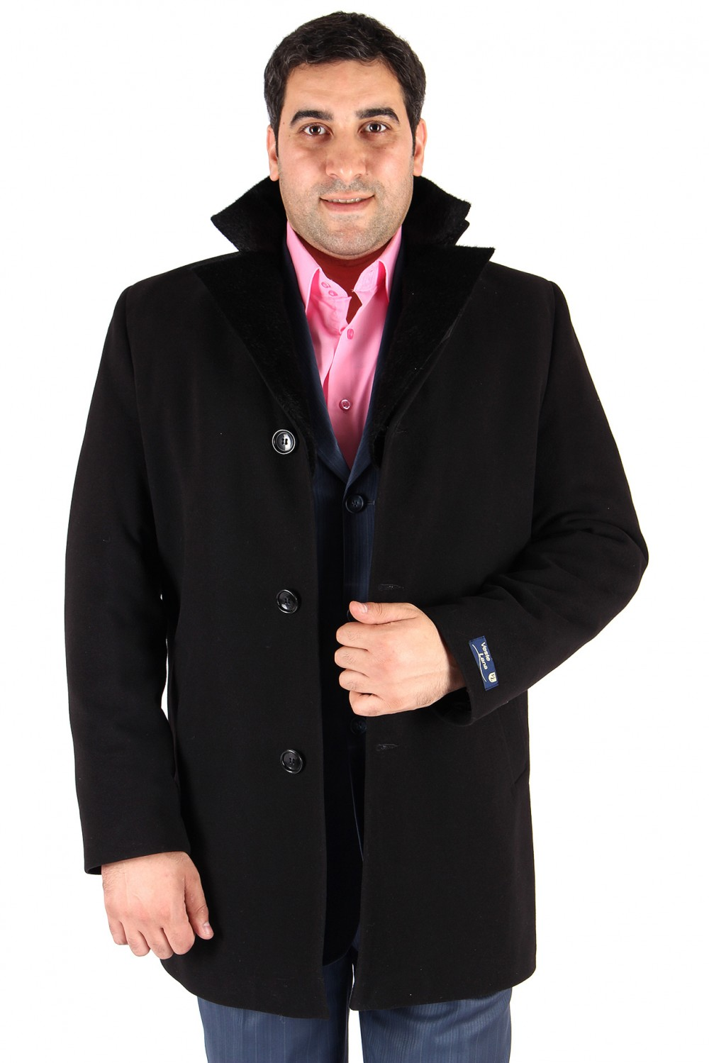 Купить оптом Пальто мужское черного цвета Кс-17Ch
