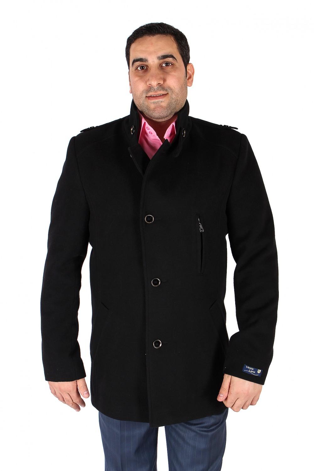 Купить                                  оптом Полупальто мужское черного цвета Кс-25Ch