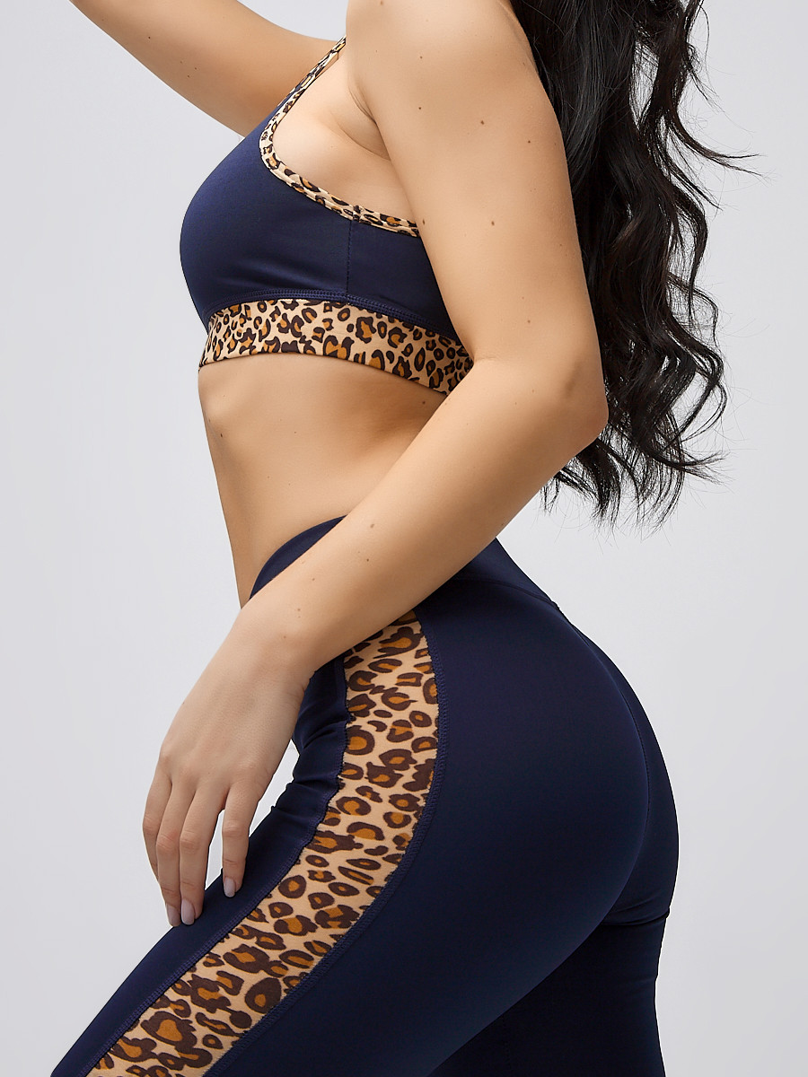 Купить оптом Спортивный костюм для фитнеса женский темно-синего цвета 21107TS