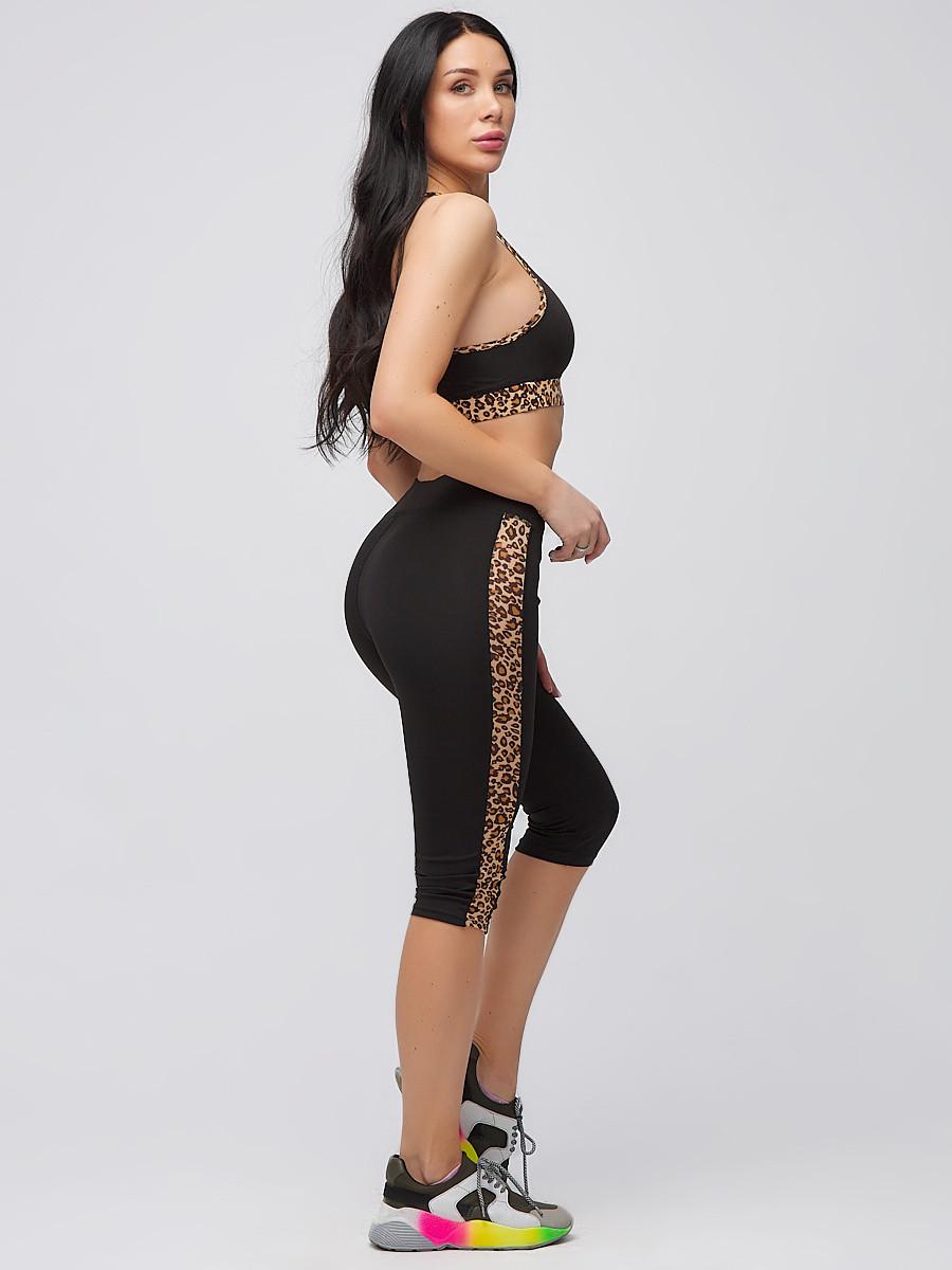 Купить оптом Спортивный костюм для фитнеса женский черного цвета 21107Ch