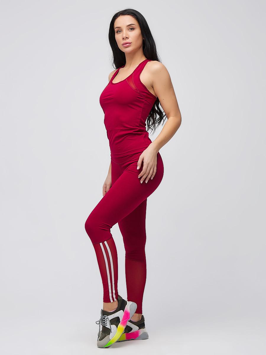 Купить оптом Спортивный костюм для фитнеса женский бордового цвета 21106Bo