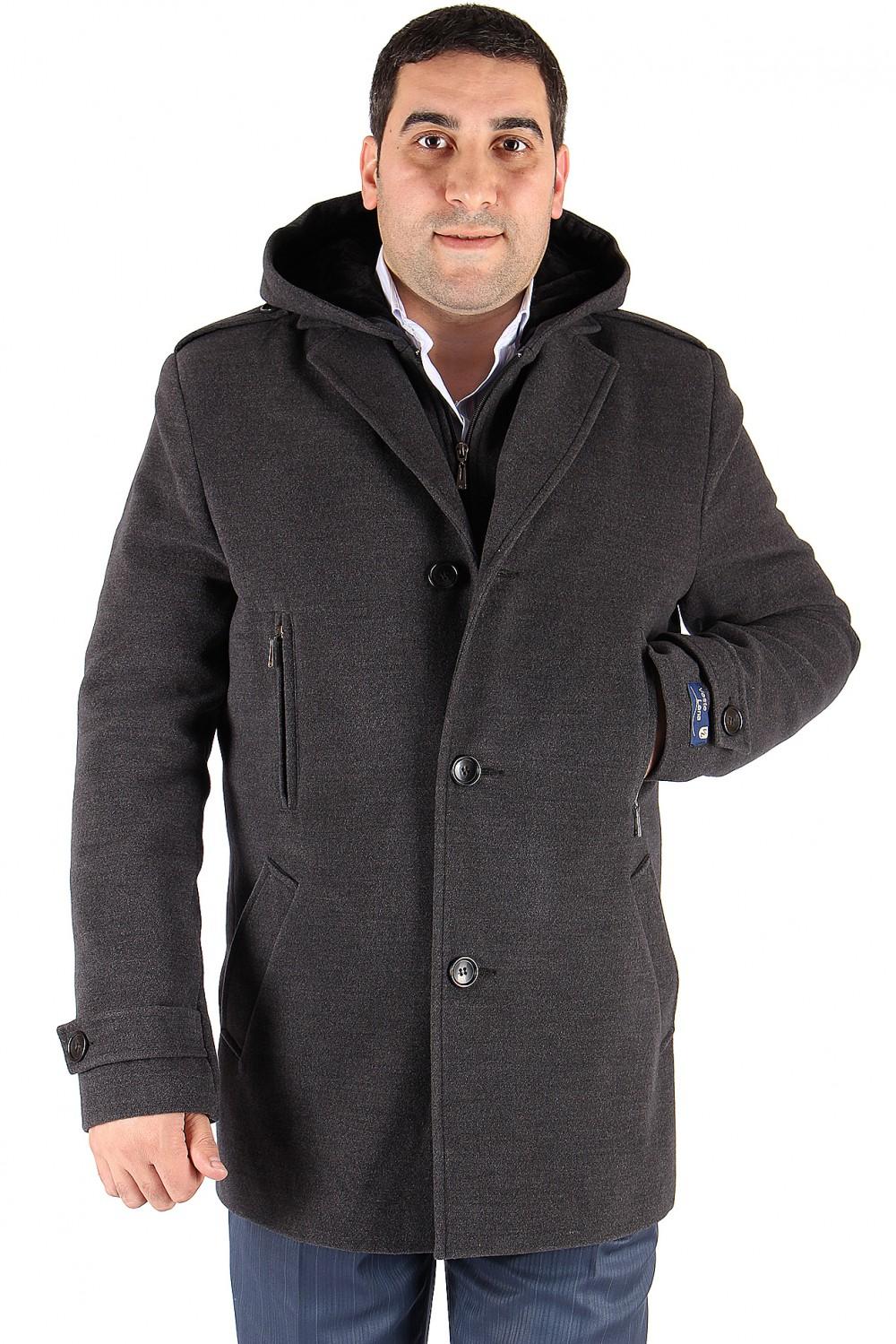 Купить оптом Полупальто мужское серого цвета Мс-01Sr в Казани