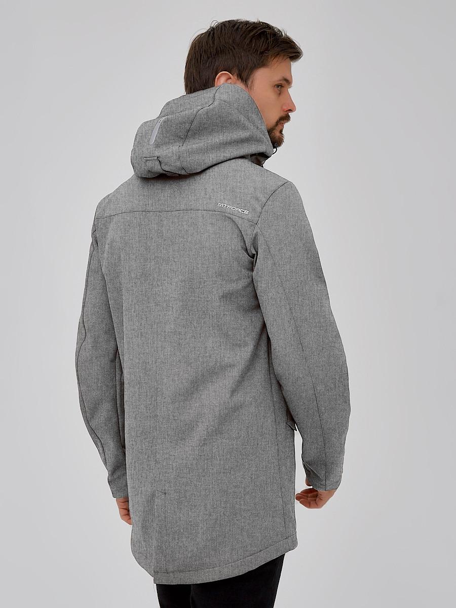 Купить оптом Парка мужская осенняя весенняя softshell светло-серого цвета 2018SS