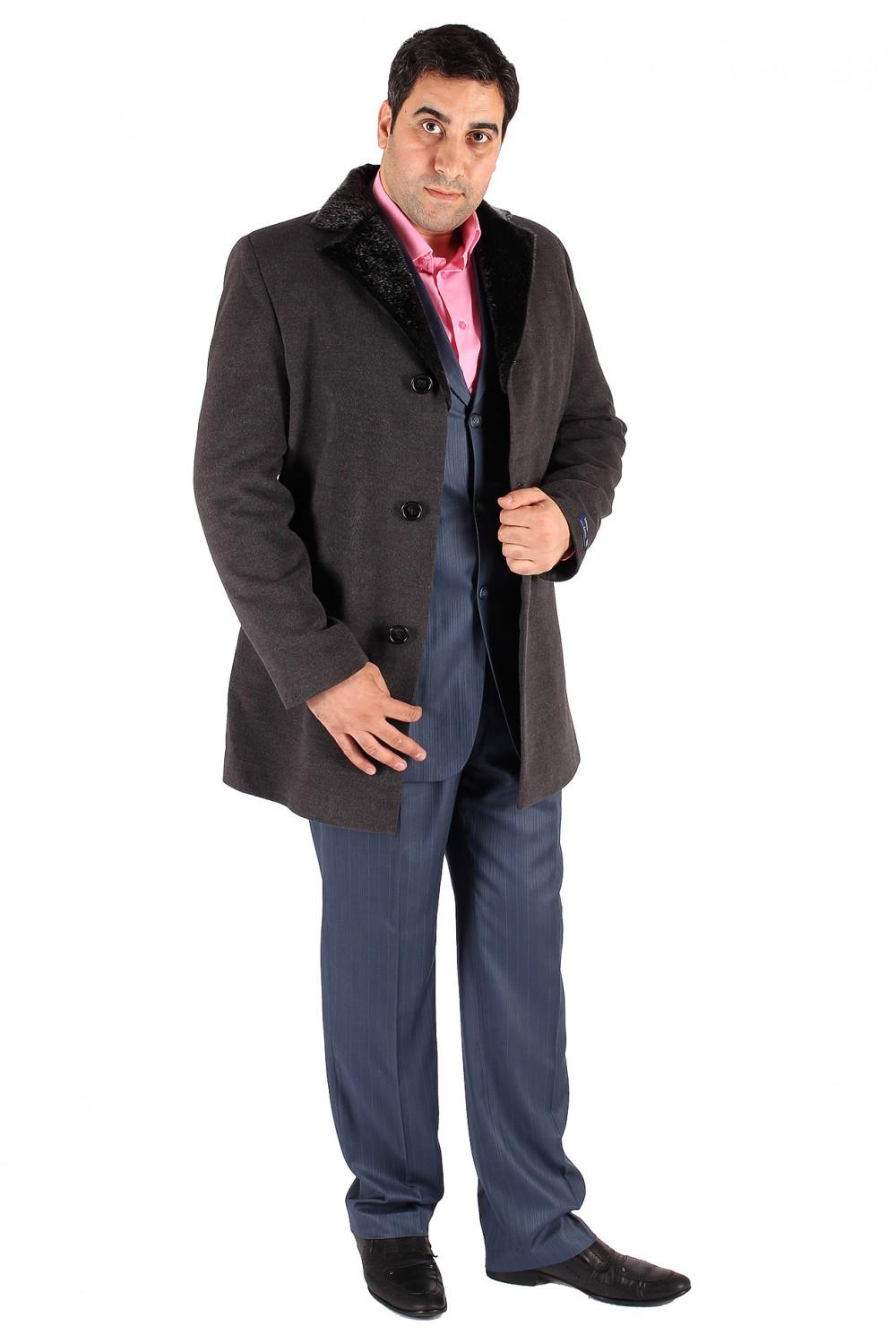 Купить оптом Пальто мужское серого цвета Mc-17Sr в Екатеринбурге