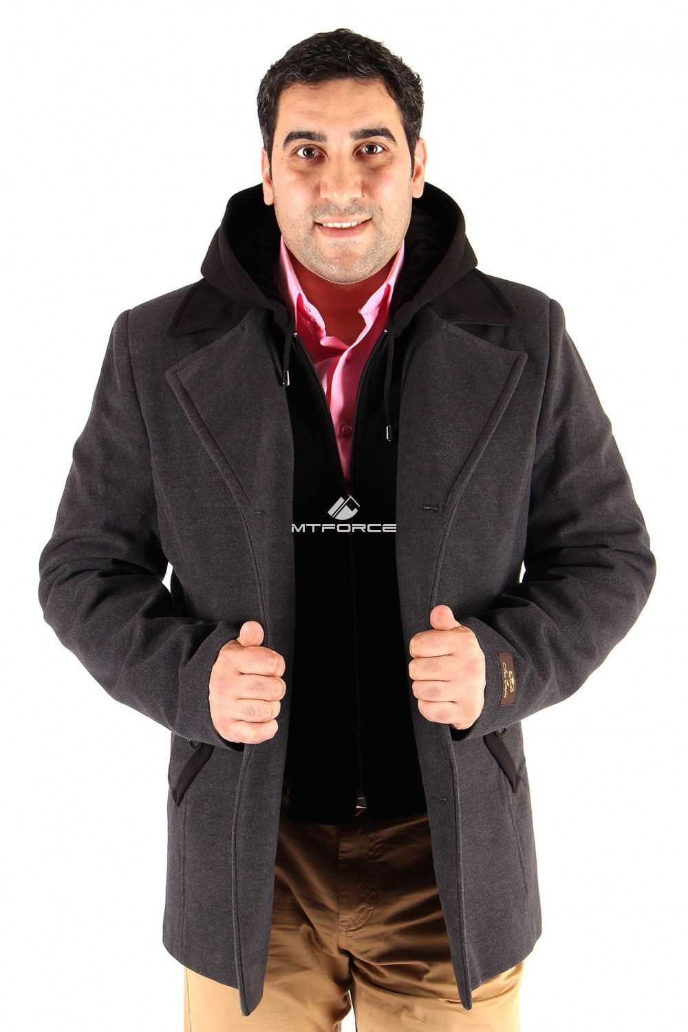 Купить оптом Полупальто мужское серого цвета Мс-02Sr