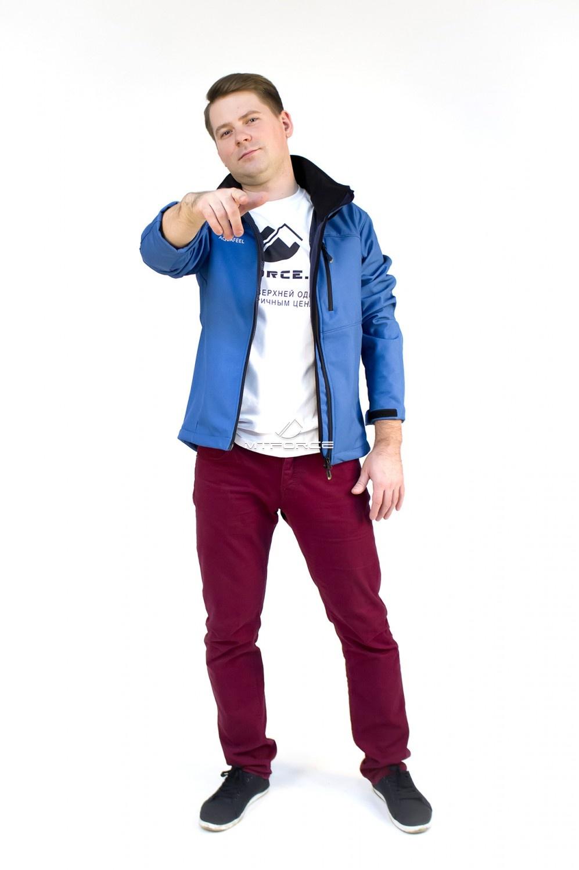 Купить оптом Ветровка - виндстоппер мужская синего цвета 1683S в Санкт-Петербурге