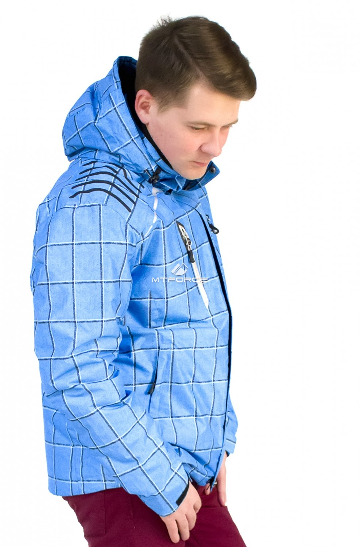 Купить оптом Куртка мужская осень весна голубого цвета 1718Gl в Уфе