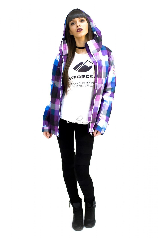 Купить оптом Куртка спортивная женская осень весна фиолетового цвета 17211F в Сочи