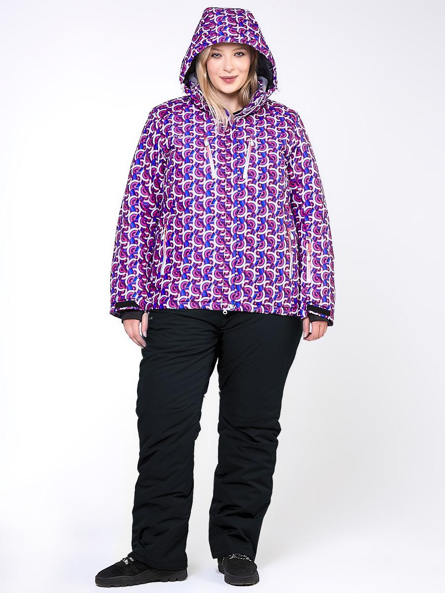 Купить оптом Костюм горнолыжный женский большого размера фиолетового цвета 018112F в Санкт-Петербурге