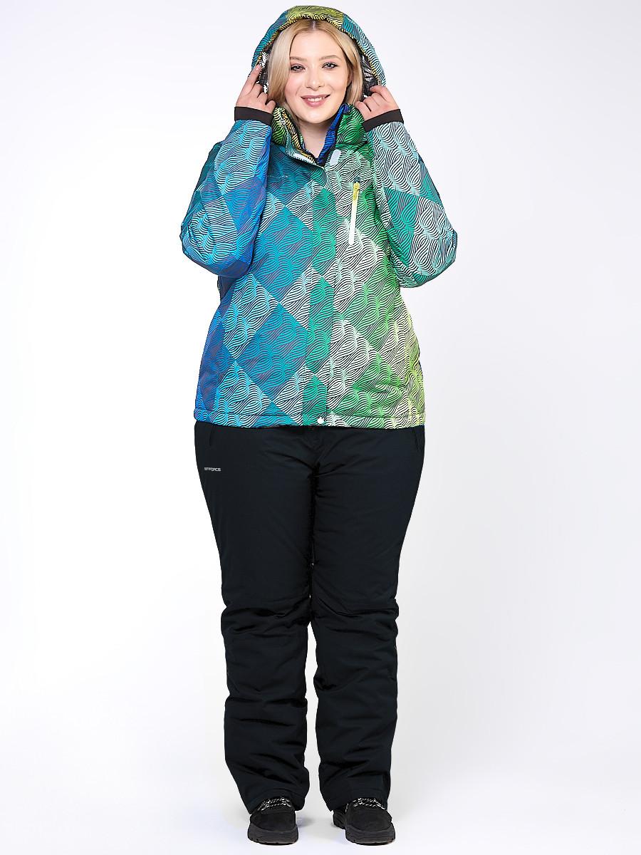 Купить оптом Костюм горнолыжный женский большого размера салатового цвета 01830-2Sl в Санкт-Петербурге