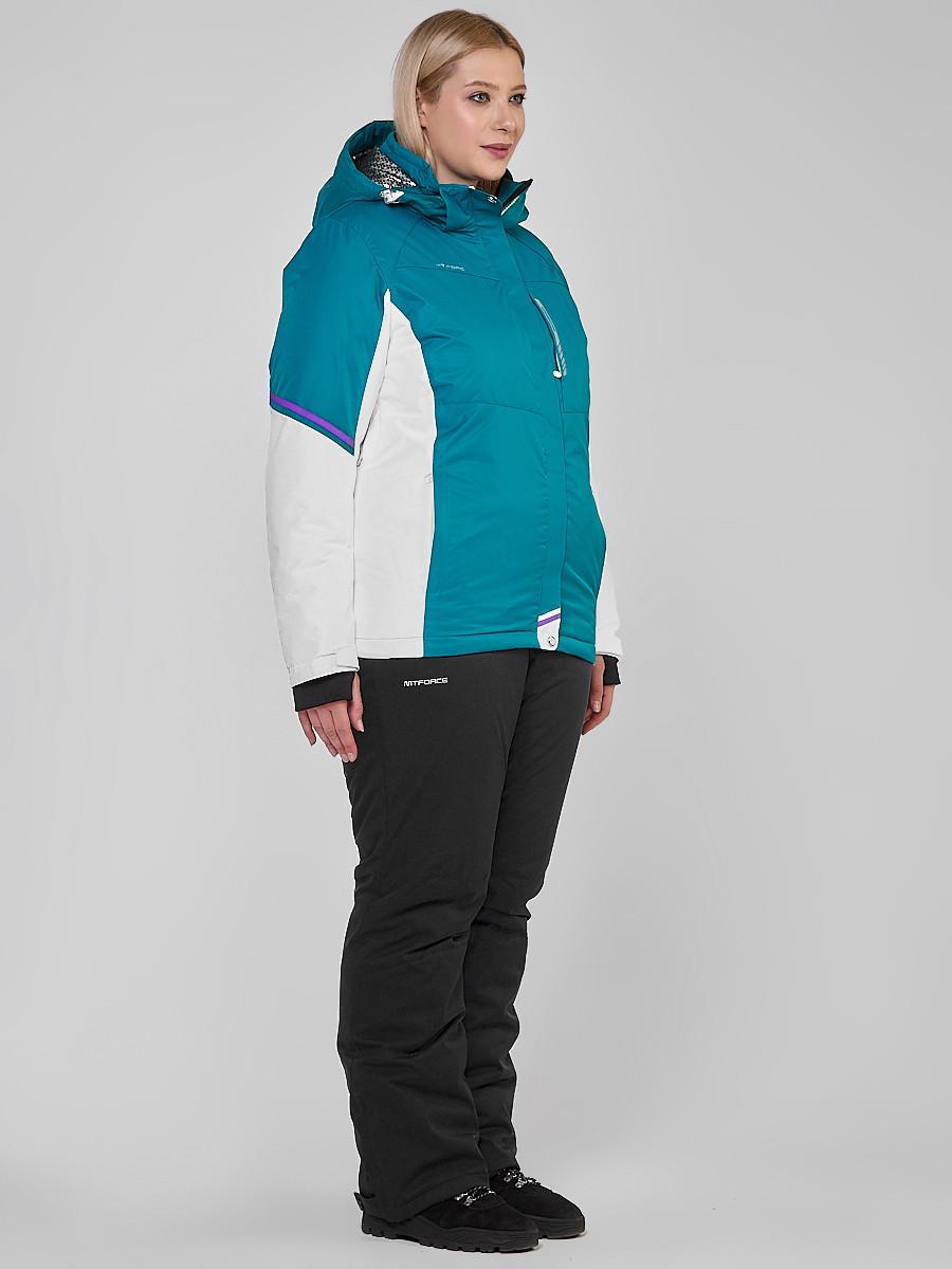 Купить оптом Костюм горнолыжный женский большого размера бирюзового цвета 01934Br