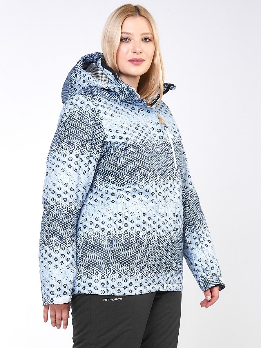 Купить оптом Костюм горнолыжный женский большого размера серого цвета 01830Sr в Санкт-Петербурге