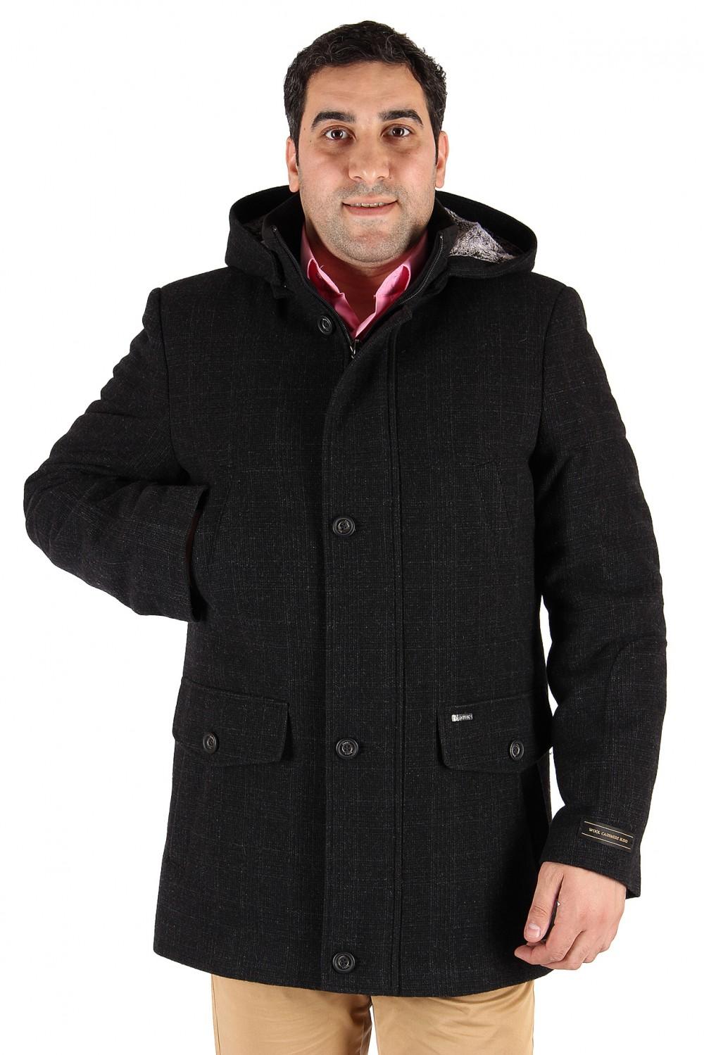 Купить оптом Полупальто мужское темно-серого цвета 23TC в Перми