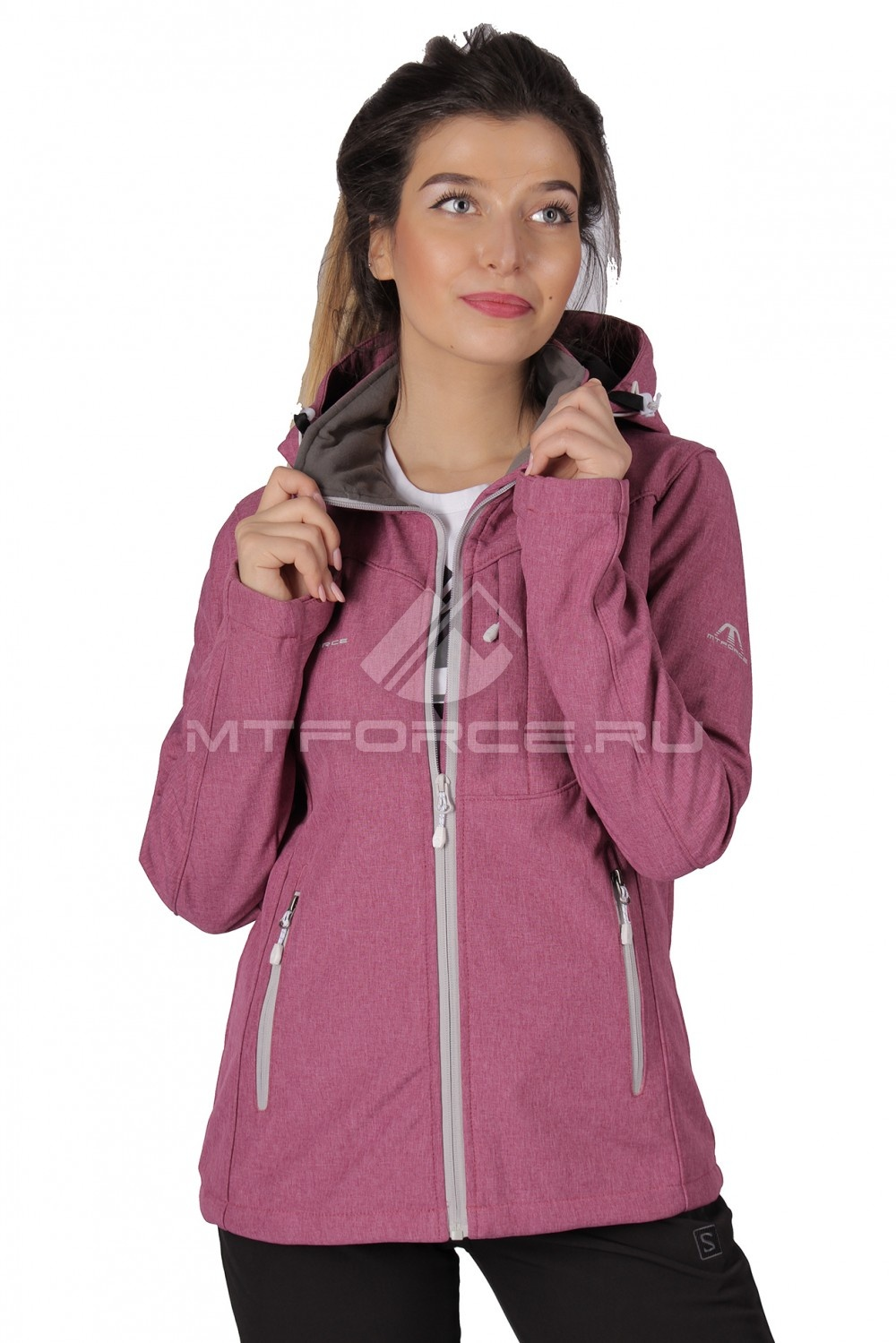 Купить  оптом Ветровка - виндстоппер женская малинового цвета 1721M