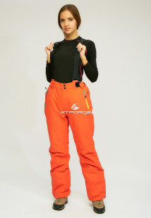 Горнолыжные брюки женские зимние оранжевого цвета купить оптом в интернет магазине MTFORCE 005O
