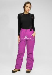 Горнолыжные брюки женские зимние большого размера фиолетового цвета купить оптом в интернет магазине MTFORCE 005F