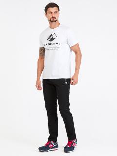 Спортивные мужские брюки осенние весенние черного цвета купить оптом в интернет магазине MTFORCE 00812Ch