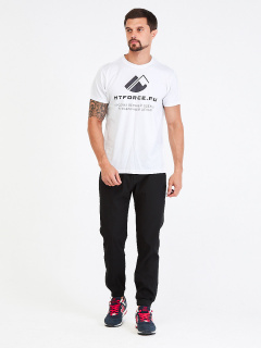 Спортивные мужские брюки осенние весенние черного цвета купить оптом в интернет магазине MTFORCE 00816Ch