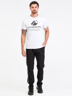 Спортивные мужские брюки осенние весенние черного цвета купить оптом в интернет магазине MTFORCE 00815Ch