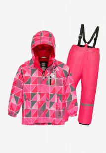 Купить оптом костюм подростковый демисезонный для девочки розового цвета 0016-1R в интернет магазине MTFORCE.RU