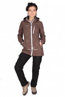 Купить оптом костюм виндстопер женский коричневого цвета 01735K в интернет магазине MTFORCE.RU