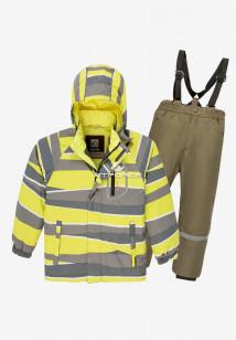 Купить оптом костюм подростковый демисезонный для мальчика желтого цвета 0017J в интернет магазине MTFORCE.RU