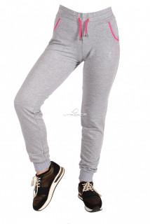 Купить оптом брюки трикотажные женские серого цвета 018Sr в интернет магазине MTFORCE.RU