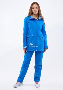 Спортивный костюм женский осенний весенний softshell синего цвета купить оптом в интернет магазине MTFORCE 018125S