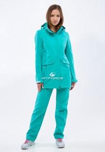 Спортивный костюм женский осенний весенний softshell бирюзового цвета купить оптом в интернет магазине MTFORCE 018125Br