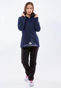 Спортивный костюм женский осенний весенний softshell темно-синего цвета купить оптом в интернет магазине MTFORCE 01816-1TS