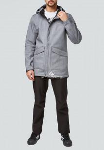 Спортивный костюм мужской осенний весенний softshell серого цвета купить оптом в интернет магазине MTFORCE 01904Sr
