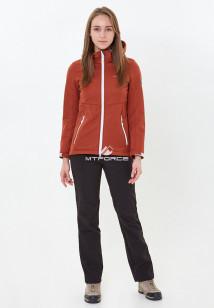 Спортивный костюм женский осенний весенний softshell оранжевого цвета купить оптом в интернет магазине MTFORCE 01907O