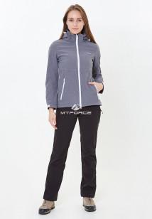 Спортивный костюм женский осенний весенний softshell серого цвета купить оптом в интернет магазине MTFORCE 01907Sr