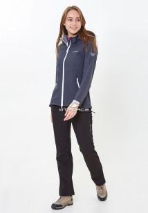 Спортивный костюм женский осенний весенний softshell темно-серого цвета купить оптом в интернет магазине MTFORCE 01907TC