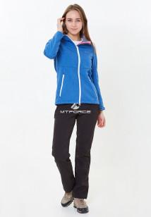 Спортивный костюм женский осенний весенний softshell синего цвета купить оптом в интернет магазине MTFORCE 01907S