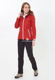 Спортивный костюм женский осенний весенний softshell красного цвета купить оптом в интернет магазине MTFORCE 01907Kr