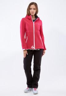 Спортивный костюм женский осенний весенний softshell малинового цвета купить оптом в интернет магазине MTFORCE 01907M
