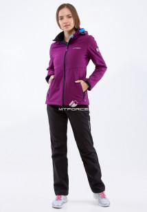 Спортивный костюм женский осенний весенний softshell фиолетового цвета купить оптом в интернет магазине MTFORCE 01907F