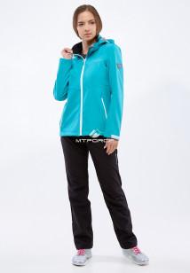 Спортивный костюм женский осенний весенний softshell бирюзового цвета купить оптом в интернет магазине MTFORCE 01907Br