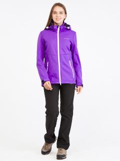 Спортивный костюм женский осенний весенний softshell фиолетового цвета купить оптом в интернет магазине MTFORCE 019077-1F