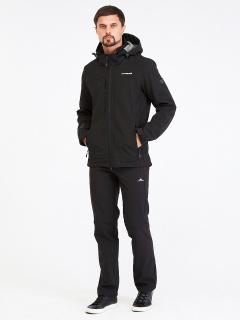 Спортивный костюм мужской осенний весенний softshell черного цвета купить оптом в интернет магазине MTFORCE 01915Ch