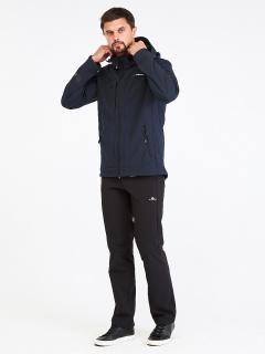 Спортивный костюм мужской осенний весенний softshell темно-синего цвета купить оптом в интернет магазине MTFORCE 01915TS