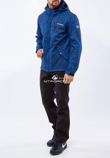 Спортивный костюм мужской осенний весенний softshell темно-синего цвета купить оптом в интернет магазине MTFORCE 01920TS